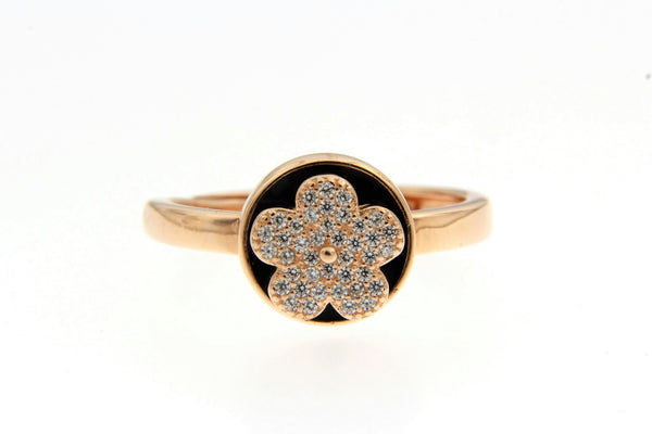 Rose Gold Spinning Flower CZ Ring