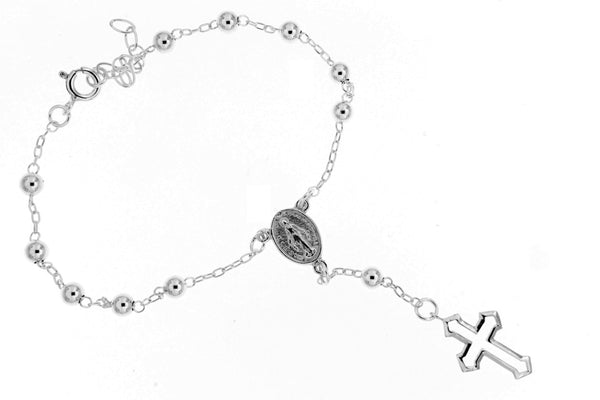 Sterling Silver Beaded Rosary Bracelet