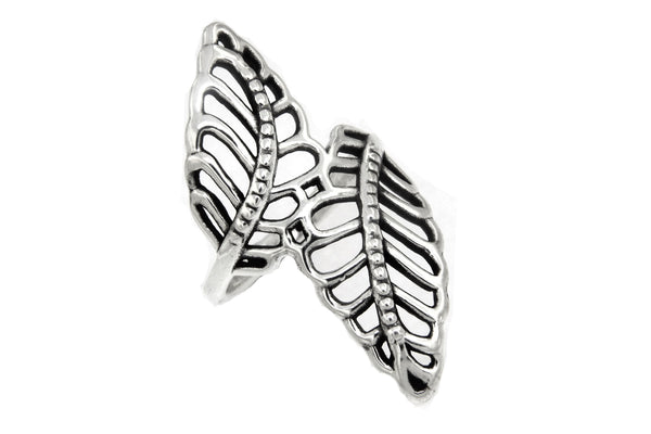 Sterling Silver Cutout Leaves Ring