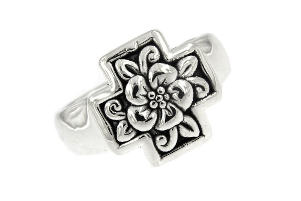Sterling Silver Floral Square Cross Ring