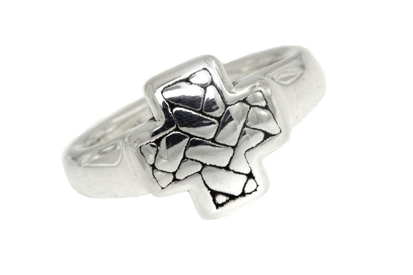 Sterling Silver Woven Square Cross Ring