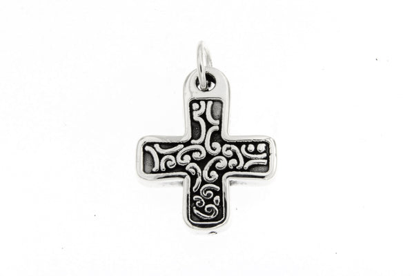 Sterling Silver Filigree Square Cross Pendant