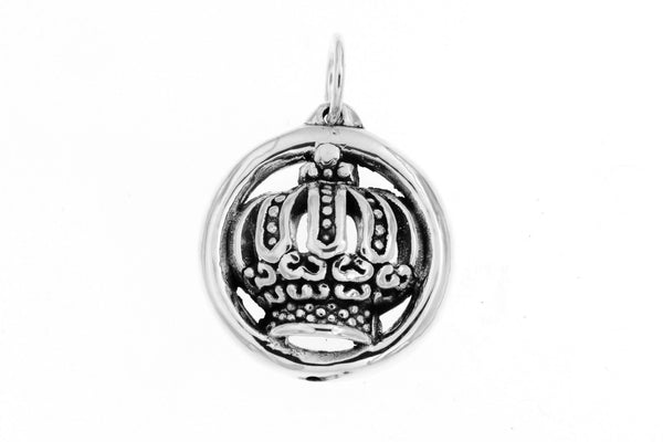 Sterling Silver Round Crown Pendant