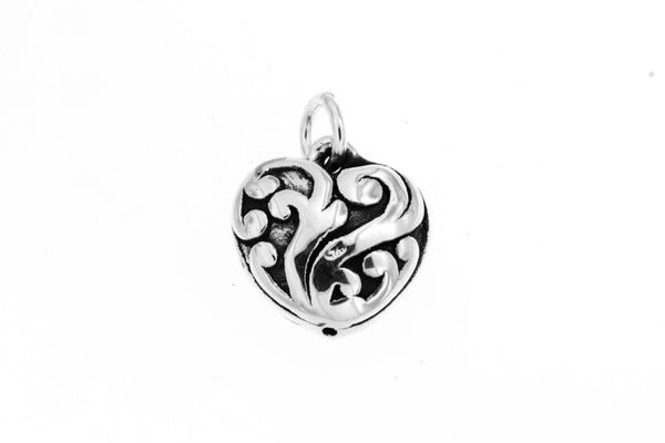 Sterling Silver Electroform Filigree Heart Pendant
