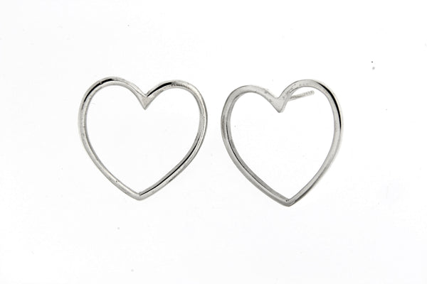 Sterling Silver Open Heart Earrings/25mm