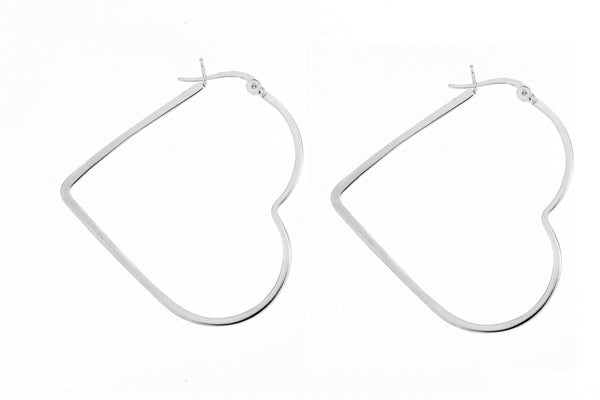 Sterling Silver Heart Hoop Earrings/ 40mm