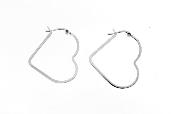 Sterling Silver Heart Hoop Earrings/ 30mm