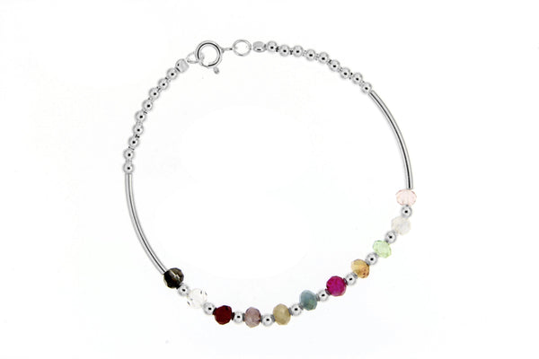 Sterling Silver Multi-Color Crystal Bead Bracelet