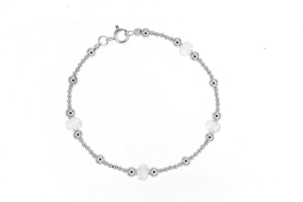 Sterling Silver Clear Crystal Bead Bracelet