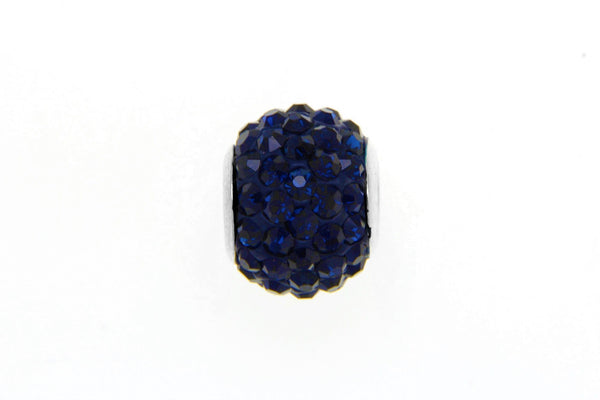 Navy Blue Crystal Bead Charm