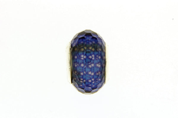 Blue Stars Faceted Glass Slide Charm