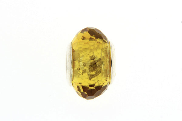 Golden Yellow Faceted Glass Slide Charm