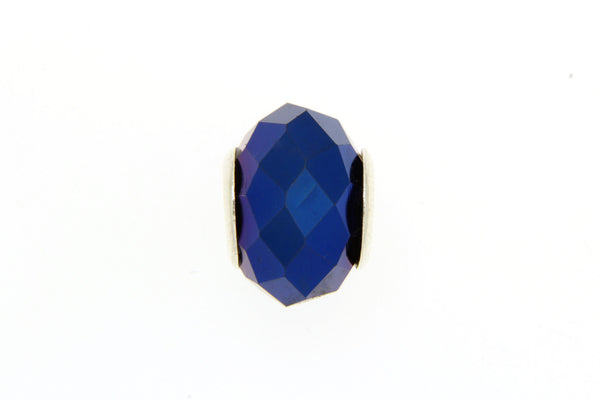 Metallic Blue Faceted Glass Slide Charm