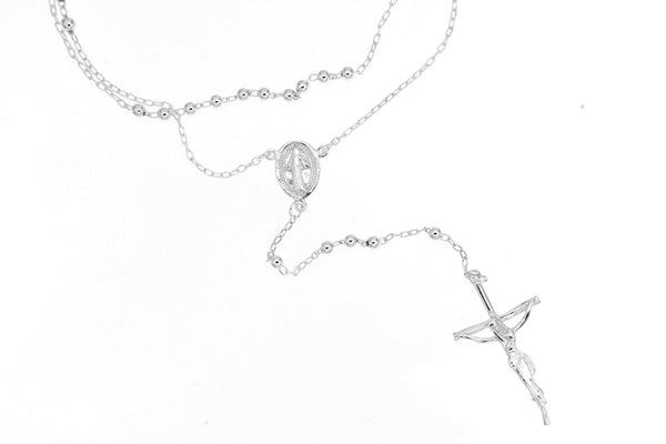 Sterling Silver Rosary Bead Necklace/3mm