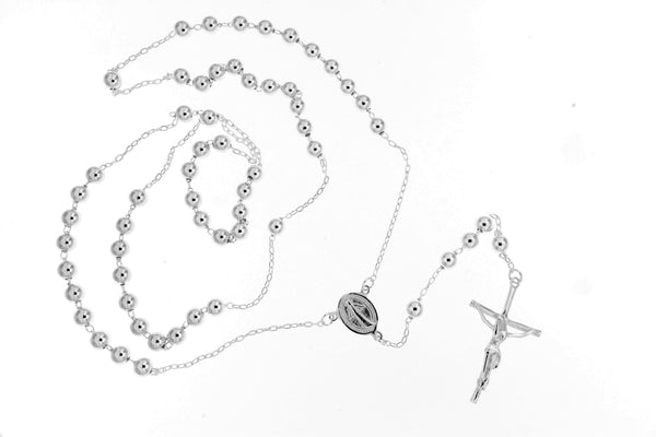 Sterling Silver Rosary Bead Necklace/5mm