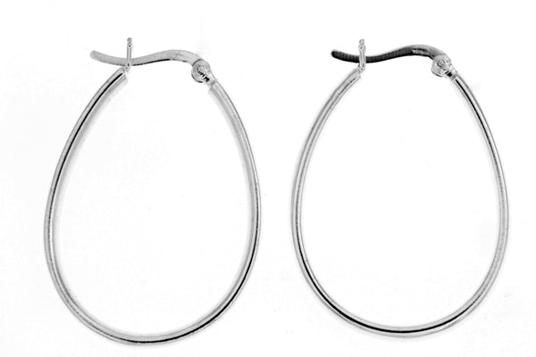 Sterling Silver Pear Shaped Hoop Earrings
