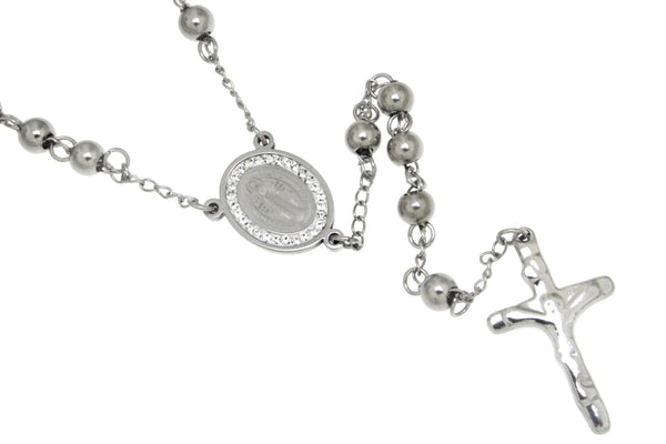 Saint Benedict CZ Stainless Steel Rosary
