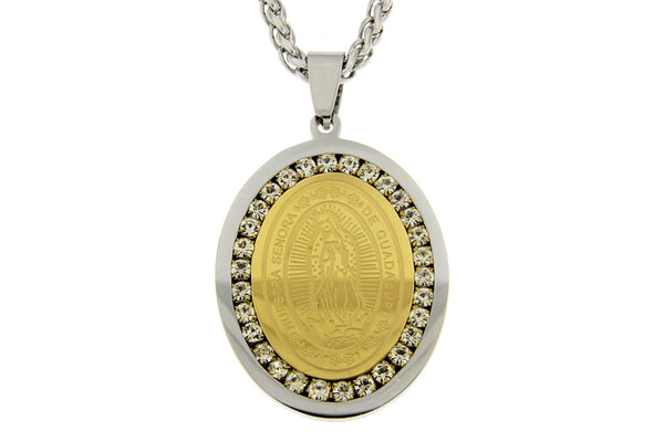 Nuestra Senora De Guadalupe CZ Stainless Steel Necklace