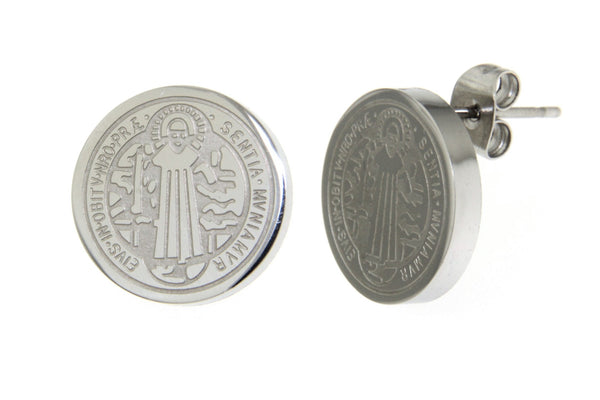 Saint Benedict Stainless Steel Earrings