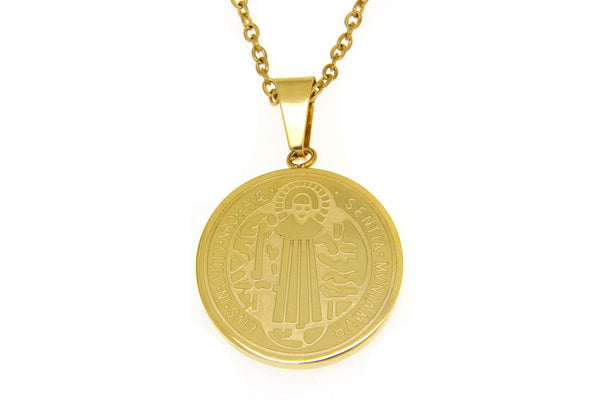 Saint Benedict Gold Stainless Steel Necklace