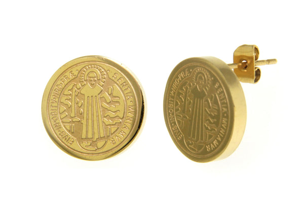 Saint Benedict Gold Stainless Steel Earrings