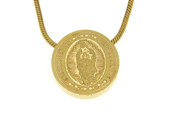 Nuestra Senora De Guadalupe Gold Stainless Steel Necklace