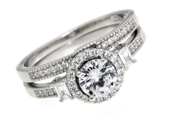 Sterling Silver CZ Wedding Ring Set