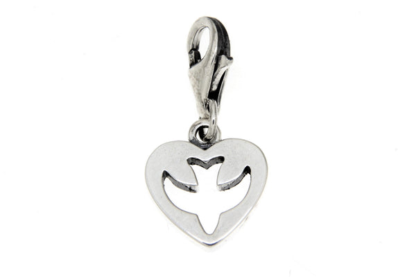 Sterling Silver Holy Spirit Cutout Heart Clip Charm