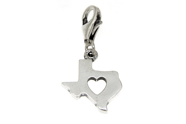 Sterling Silver Texas With Cutout Heart Clip Charm
