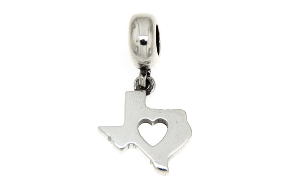 Sterling Silver Texas With Cutout Heart Slide Charm