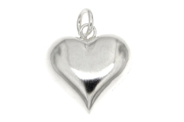 Sterling Silver Puffy Heart Pendant/19mm