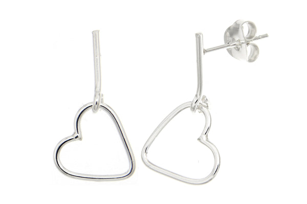 Sterling Silver Bar Heart Earrings