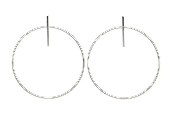 Sterling Silver Circle Bar Earrings
