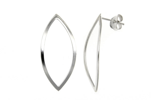 Sterling Silver Almond Shaped Earrings