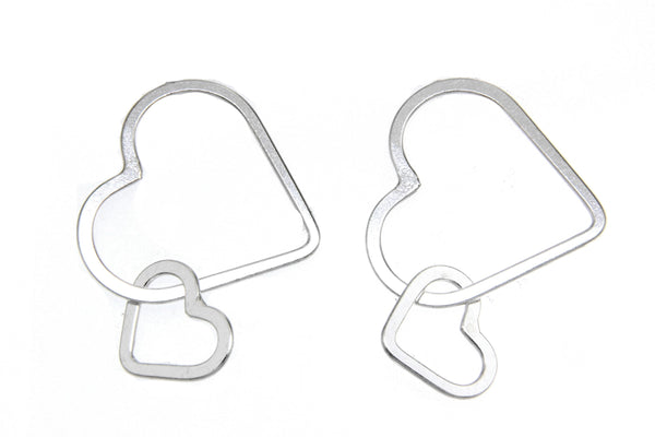 Sterling Silver Double Heart Dangle Earrings