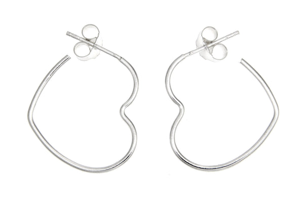 Sterling Silver Open Heart Hoop Earrings