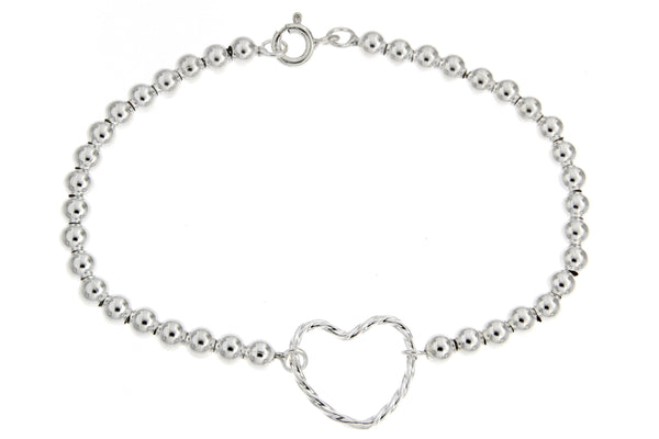 Sterling Silver Beaded Heart Bracelet