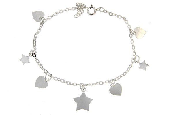 Sterling Silver Hearts And Stars Charm Bracelet