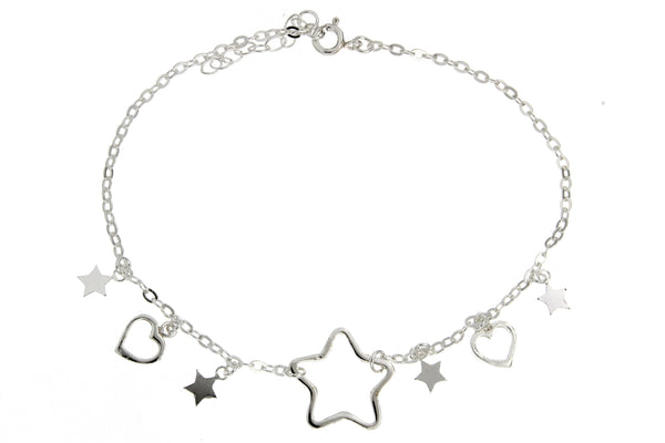 Sterling Silver Hearts And Stars Charm Anklet
