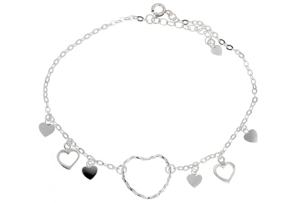 Sterling Silver Hearts Charm Anklet
