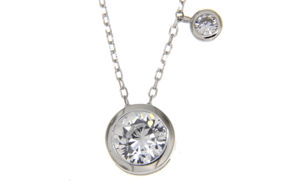 Round Solitaire Bezel CZ Necklace