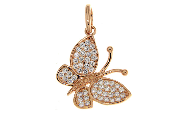 Sterling Silver Rose Gold Plated Butterfly CZ Pendant