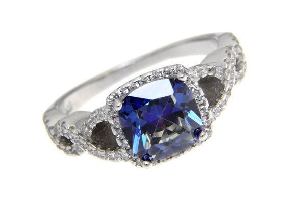 Sterling Silver Twist Halo Blue CZ Ring