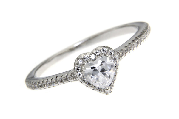 Sterling Silver Halo Heart-Shaped CZ Ring