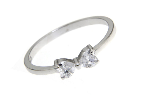 Sterling Silver Bow CZ Ring