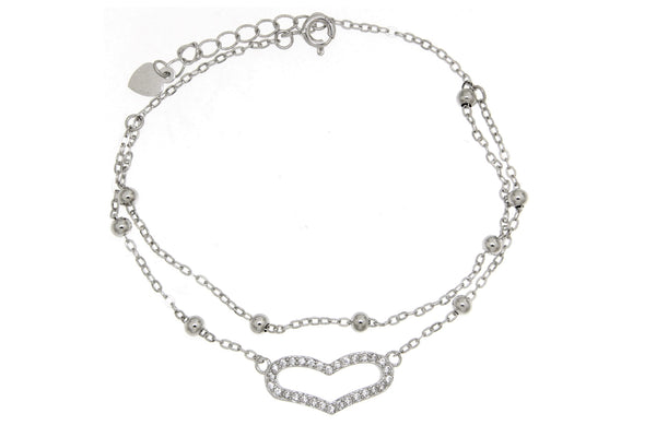Sterling Silver Heart CZ Double Chain Bracelet