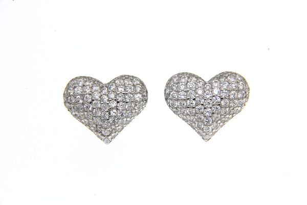 Sterling Silver Micropave Heart Stud Earrings Clear CZ Cubic Zirconia-11MM