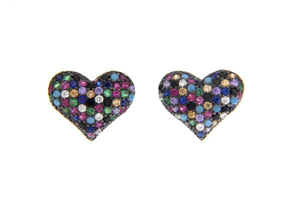 CZ Micropave Multi Color Heart Earrings