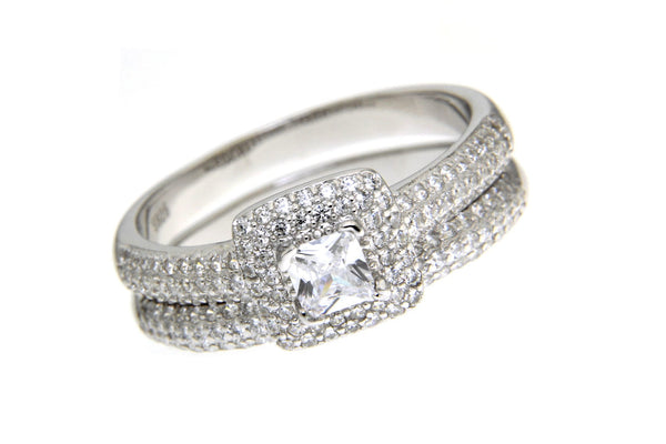 Sterling Silver CZ Wedding Set
