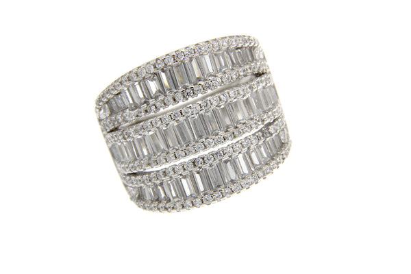 Sterling Silver Baguette Cubic Zirconia Ring